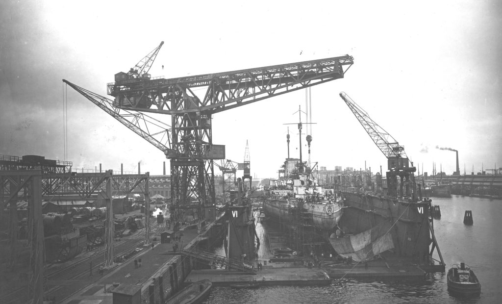 Moltke under construction at the Blohm und Voss shipyard in Hamburg