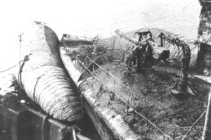 A raised destroyer with a 'Camel' attached for buoyancy.
