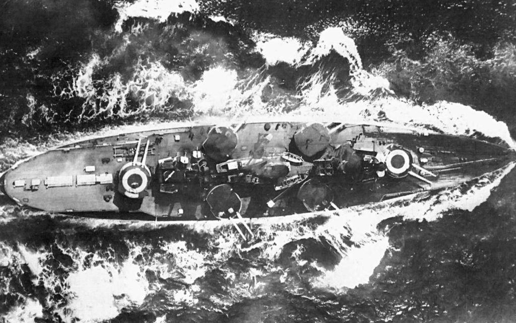 An overhead photo of Nassau, shows her unusual turret layout, two fore and aft on the centreline, two on each side amidships.