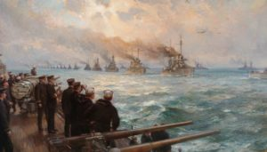 Bernard Cribble. The arrival of the HSF at the Firth of Firth seen from a US battleship. Admiral William S Sims is watching, holding a pair of binoculars.
