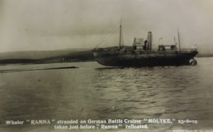 The whaler Ramna after running aground on Moltke. (Courtesy Kirkwall Library and Archives L202/1 941.09 B)