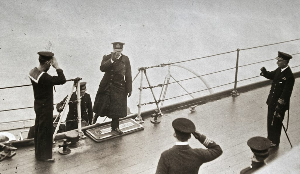 Admiral Meurer coming aboard. Author's collection. Photo Suplied Central News.